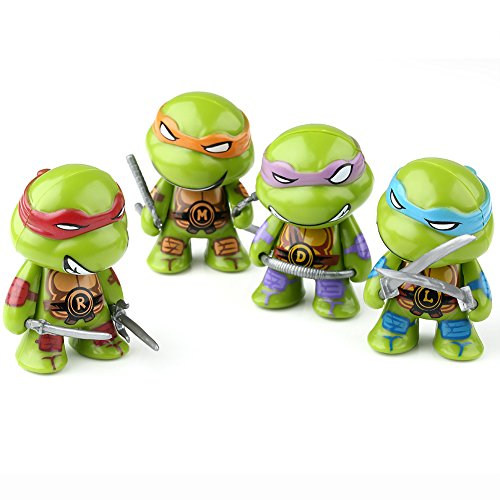 Teenage Mutant Ninja Turtles Action-Figuren TMNT Ein Set von 4 PVC-Puppen Leo Mikey Don Raph für Sammler 7cm
