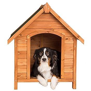 TecTake Niche pour chiens XXL en bois massif   toit incliné   résistant aux intempéries   72x65x83cm