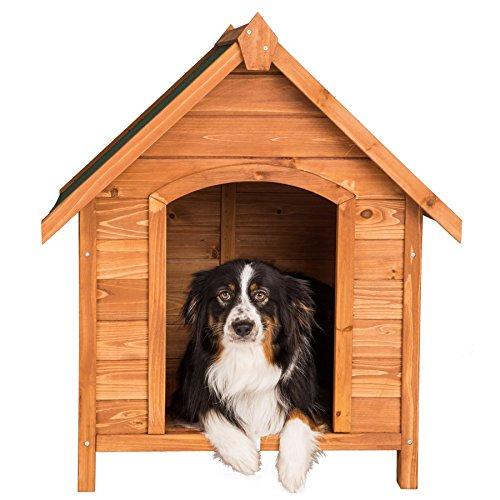 TecTake Hundehütte XXL Massiv Holz für Indoor und Outdoor 72x65x83 cm Hundehaus wetterfest mit aufklappbarem Spitzdach - 2