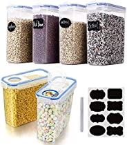 Cereal & Dry Food Storage Containers, VALUXE Airtight Plastic Kitchen Storage Organizer, Set of 6 [2.5L /