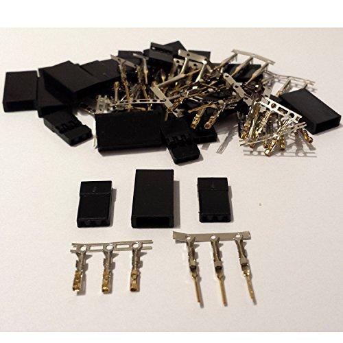 MR-Onlinehandel ® 10 Paar (20 Stück) Graupner / JR kompatible Servostecker Stecker und Buchse vergoldet Crimp Set