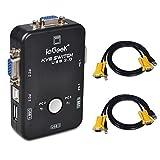 ieGeek KVM Umschalter 2 Port USB KVM Switch Box mit 2 VGA Kabel für PCs Maus Drucker und Tastatur - Schwarz