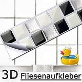 7er Set 25,3 x 3,7 cm Grandora Mosaik 3D Fliesenaufkleber W5191 selbstklebend Küche Bad Wandaufkleber Fliesendekor Folie schwarz weiß silber