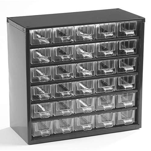 Certeo Schubladenmagazin aus Stahl   HxBxT - 282 x 306 x 155 mm   30 transparente Schubladen   Gehäuse tiefschwarz   Kleinteilemagazin Klarsichtmagazin