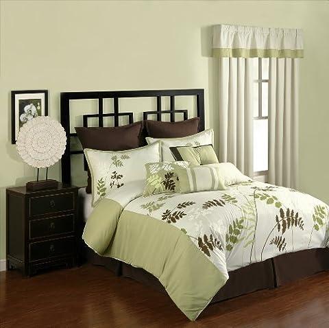 Presidio Square Collection 8-Piece Meadowland Comforter Set, King, Green