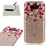 TOCASO Schutzhülle LG G5 Hülle Transparent Cover Tasche Bunte Handyhülle schützende Durchsichtig Rückschale Clear Pattern Fall Handytasche LG G5 Design Liebe und weißen Blüten