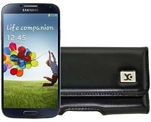 Original SunCase Quertasche für / Samsung Galaxy S4 i9505 / Horizontal Tasche Ledertasche Handytasche Etui mit Gürtelclip* in schwarz
