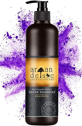 Argan Deluxe Silber-Shampoo in Friseur-Qualität 500 ml - effektive Hilfe bei Gelbstich durch NoYellow-Effekt