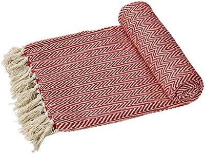 Sofás o grandes y suaves Ehc individual para cama de matrimonio algodón manta para silla - brazo rojo