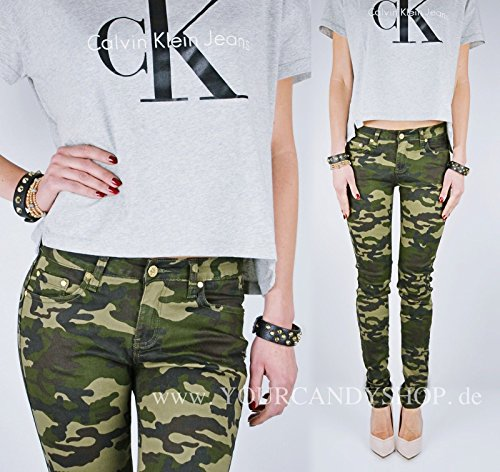 ?sexy Camouflage Jeans Militär Hüfthose Cargo Cargohosen Gr.XS S M L XL , Größe:M
