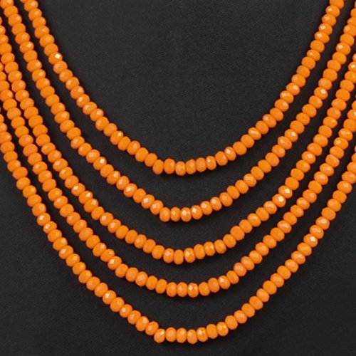 Beunew DS Orange Opaque Stone 5 Layer Necklace with Earrings for Women
