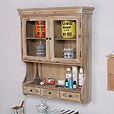 BGCG Retro Old Wall Cabinet, Wandschrank, Kitchen Locker, Wanddekoration Massivholzschrank Hängeschränke