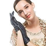 Nappaglo Damen Traditionelle Lammfell Leder Handschuhe Kaschmir-Futter Touchscreen Winter Warm Nappaleder Handschuhe (XL (Umfang der Handfläche:20.3-21.6cm), Dunkelmarineblau(Touchscreen))
