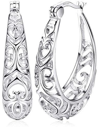 Milacolato Damen Creolen Stilvolle Ohrringe aus 925 Sterling Silber Creolen Sterling Silber Oval Verflochten - Silber Oval Ohrringe
