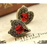Lingstar(TM) Retro Bronze Red Heart Earrings Vintage Palace Angel Wings A pair Xmas