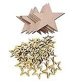 B Baosity 100 Stücke Sterne Holz Scheiben DIY Handwerk Verzierungen Holzscheiben Weihnachten Hochzeit Geburtztag Feiertag