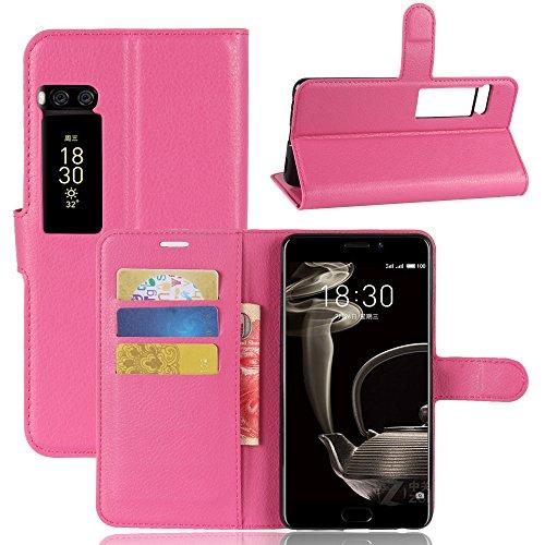 Kihying Hülle für Meizu Pro 7 Plus Hülle Schutzhülle PU Leder Flip Wallet Fashion Geschäft HandyHülle (Rose rot - JFC05)