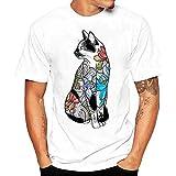 T Shirts Männer Herren DAY.LIN Männer T-Shirts drucken Hemd Kurzarm T-Shirt Bluse Herrenmode Print T-Shirt Weiß (L2=EUXL)