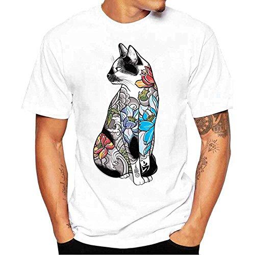 DAY.LIN T Shirts Männer Herren Männer T-Shirts drucken Hemd Kurzarm T-Shirt Bluse Herrenmode Print T-Shirt Weiß (L=EUM)