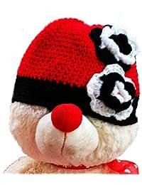 LadyMYP©Handgemachte Strickmütze, Babymütze, Kindermütze, Hüte, 100% Wolle, schwrze-rote Mütze mit schwar-weißer Blumen