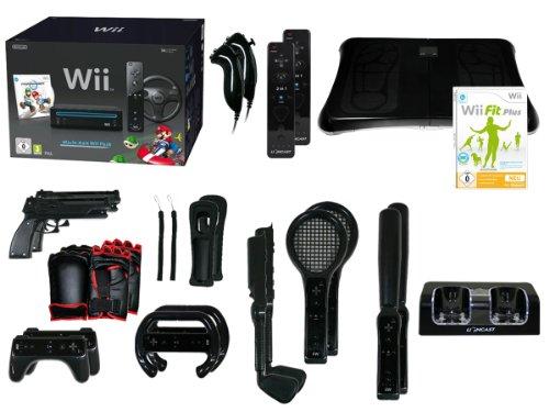 Nintendo Wii Konsole Mario Kart Wii Fit Balance Board Bundle schwarz (Fit Bundle Balance Board Wii)