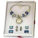 HENLEY GLAMOUR Damenuhr mit Perlenarmband mit Blaukristall
