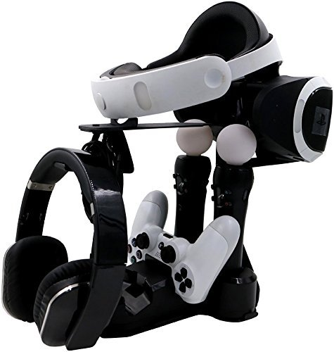 Cusfull Support de PlayStation VR + Showcase Chargeur Station de Charge à LED pour Manette PS4 et PS Move Contrôleur PS VR / PlayStation VR / PlayStation 4 / PS4, PS Move Motion Controller