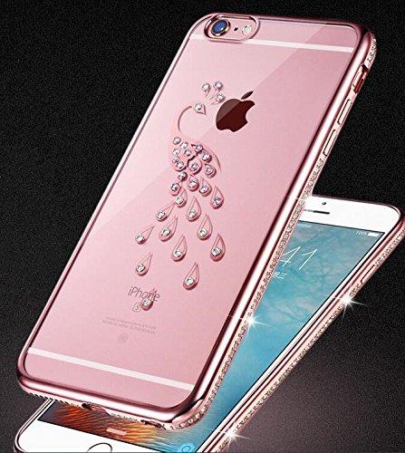 6S iPhone-Custodia per iPhone 6, motivo: delfini MASUMARK, motivo floreale con strass, colore: trasparente, in gomma, motivo: diamanti, colore: oro placcato Electroplate cornice paraurti in Silicone T Peacock 4.7 - Rose Gold