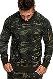 Amaci&Sons Herren Cargo Pullover Sweatshirt Hoodie Sweater Camouflage 4006 Camo Khaki M