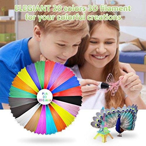 ELEGIANT 20 Stück Ink Filament PLA Filament 3D Stift Filament 1.75MM 10M 3D Print Filament 3D Printing Pen Supplies PLA Material 20 Farben Set für 3D Drucker Stift 3D Pen Kinder - 6