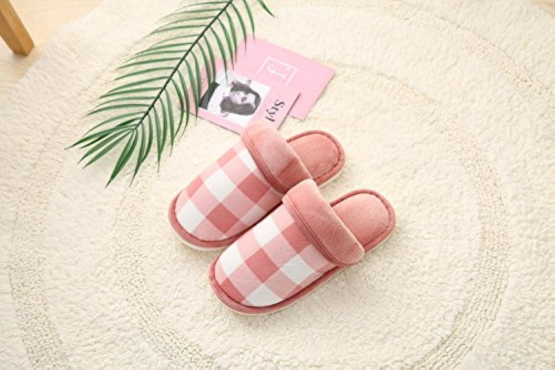 Y-Hui zapatillas de algodón, fresco invierno zapatillas Plaid, hogar cálido zapatillas,42/43,de cuero rojo