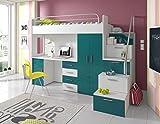 Furnistad | Hochbett für Kinder Sky | Kinderhochbett mit Treppe, Schreibtisch und Schrank (Option rechts, Weiß + Türkis)