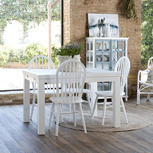 Blay Table À Rallonges 120/240 Blanche - Bois - 120x90x78 cm - Couleur Blanc Winter
