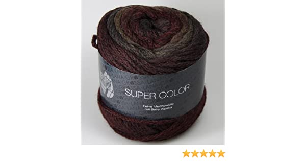 100 g Wolle Kreativ Lana Grossa 114 schwarzrot//schlamm//anthraz Super Color