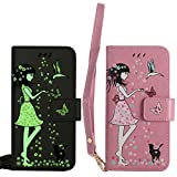 BestCatgift für Samsung Galaxy S3/9300 Hülle [Luminous Woman Cat Design] PU Leather Flip Wallet Cover Protective Shell with [Wrist Strap] - Pink