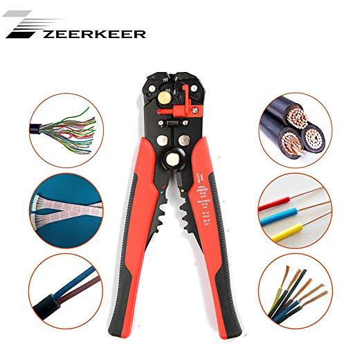 Zeerkeer Pelacables Profesional Alicates con Incluso llend cabeza y regulable de ajuste rápido para plano y plástico. Uso para versátil, Rojo