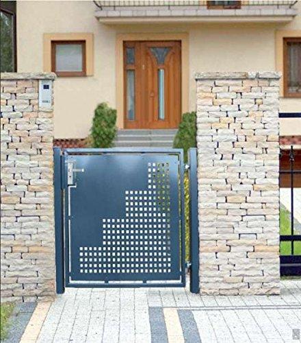 Gartentor Pforte Pulver Grau Hoftor Einfahrtstor Tür Tor Törchen 125cm x 125cm