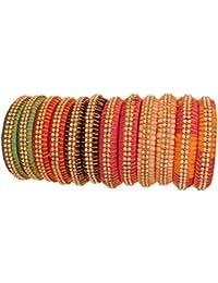NMIIFashionable & Glossy Multicolor Silk Fabric Kada Set Studded With Bright Zircon For Women & Girls On Wedding...