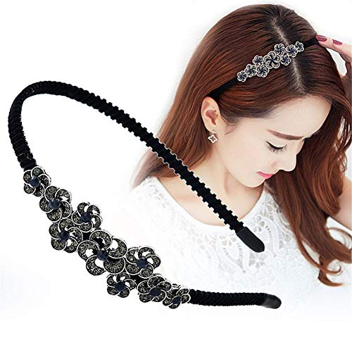 aimaoer Headband Hair Accessories Simple Hair Band Wash Headband Rhinestone Hairpin Hairpin Bangs Clip Female Headdressancient Blue Small Floral -