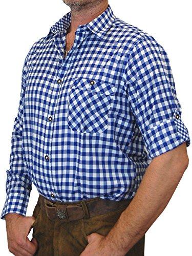 Trachtenhemd Sebastian kariert mit edlen Karo Kontrasten, Größen:3XL;Farben:kobalt-weiss