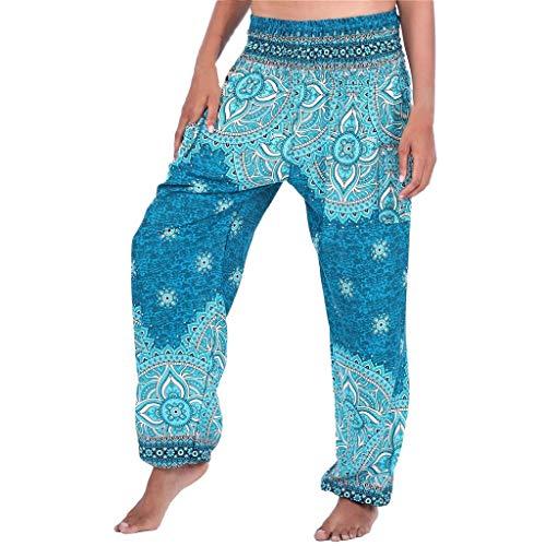 Damen Hosen, DAY8 Freizeithose Stretch Stoffhose Business Sommer Elegant Freizeithose Aladinhose Blau Yogahosen Haremshosen Frauen Pumphose Bein Hippie Capri Spandex Jersey