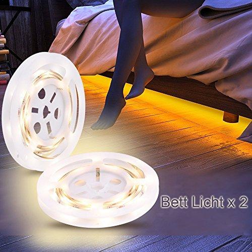 Preisvergleich Produktbild Bewegung aktiviert Bett Licht,  GOCHANGE Flexible LED Streifenlicht,  Auto Ein / Aus Bewegungsmelder Nachttischlampe,  Bewegung aktivierte LED-Lichtleiste Einzeln