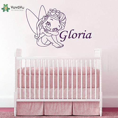 Vinyl Wandtattoo Niedlichen Cartoon Elf Mädchen Personalisierte Benutzerdefinierte Name Baby Kinderzimmer Dekoration Aufkleber 42X65 cm