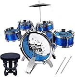 Music Jazz Drum Set Big Size Musical Drum Set with 5 Drums, Cymbal and Chair Musical Toy Blue