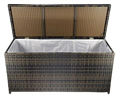 Auflagenbox Gartentruhe, Kissenbox, Garten Box Aufbewahrungstruhe, Poly-Rattan wetterbeständig, 132x53x63cm von STW GMBH auf Du und dein Garten