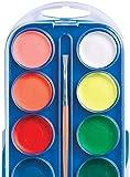 Kindermalkasten mit 12 Wasserfarben - günstiger Wasserfarbkasten - Malkasten für Kinder prima zum Verschenken -