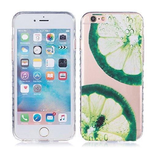 iPhone 6 Hülle, E-Lush TPU Soft Silikon Tasche Transparent Schale Clear Klar Hanytasche für Apple iPhone 6 6S(4,7 zoll) Durchsichtig Rückschale Ultra Slim Thin Dünne Schutzhülle Weiche Flexibel Handyh Zitrone