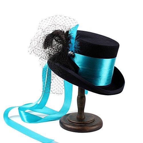 Zinn Halloween Kostüme (BEITE- Steampunk gotische viktorianische Hochzeits-Hut-blaue Spitze-Band-kreativer Pers5onlichkeit-Hut ( Farbe : 1 , größe : 61cm)
