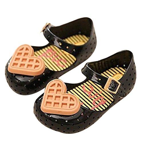 Meijunter Filles Bébé Mignonne Coeur d'amour Biscuits Respirant Antidérapant Souples Gelée Plates Chaussures Plates Décontractées Enfants Sandals Pluie Bottes Noir