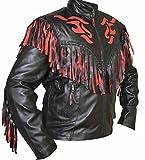 classyak Unisex Western Fringed echtes Leder Moto Flame Jacke Gr. XX-Large, Cow Black